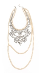Joomi Lim Rebel Romance Statement Necklace Crystal Pearl