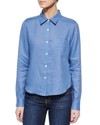 Theory Tianmer Long Sleeve Blouse Vintage Blue