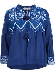 Sea Fishnet Lace Peasant Blouse Blue