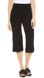 Enza Costa Crepe Cropped Flare Trousers Black