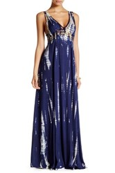 En Creme V Neck Lace Dip Dye Maxi Dress Blue