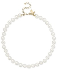 Kate Spade New York Gold Tone Imitation White Pearl Collar Necklace