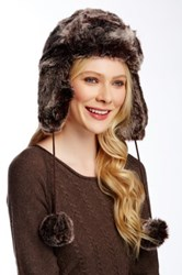 14Th And Union Faux Fur Earflap Pom Trapper Hat Brown