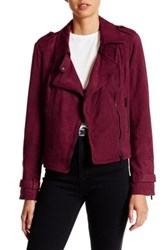 Bnci By Blanc Noir Faux Suede Moto Jacket Red