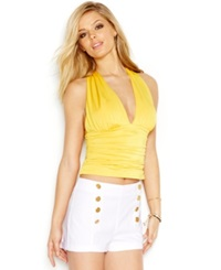 Guess Cross Back Halter Top Lemon Ice