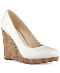 Nine West Halenia Wedge Pumps Women's Shoes Off White Synthetic