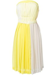 Jenny Fax Pleated Strapless Colour Block Dress White
