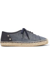 Jimmy Choo Leather Trimmed Denim Espadrilles Mid Denim