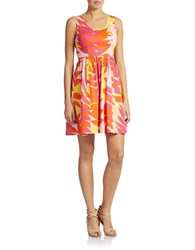 Plenty By Tracy Reese Sleeveless Fit And Flare Print Dress Sunset