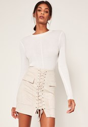 Missguided White Faux Suede Pocket Detail Lace Up Front Mini Skirt Grey