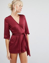 Influence Wrap Front Playsuit Red