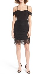 Trixxi Women's Lace Overlay Cold Shoulder Dress