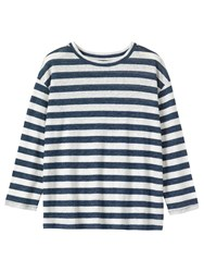 Toast Long Sleeve Stripe Linen T Shirt Blue Off White