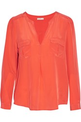 Joie Haim Washed Silk Top Orange