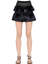 Valentino Fringed Raffia And Mesh Mini Skirt