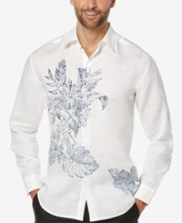 Cubavera Men's Tropical Foliage Long Sleeve Shirt Bright White