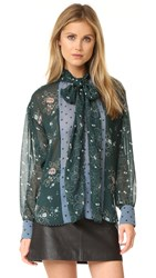 See By Chloe Printed Tie Neck Blouse Frosty Green
