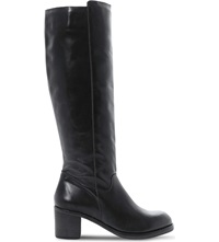 Bertie Timber Knee High Leather Boots Black Leather