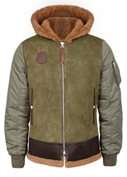 Schott Nyc Lb 10 Leather And Shell Jacket Khaki