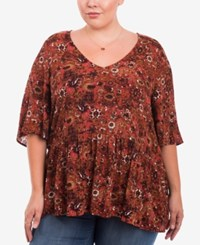 Eyeshadow Trendy Plus Size Floral Print Top Dark Orange