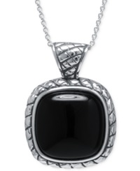Macy's Black Agate Square Pendant Necklace In Sterling Silver