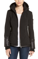 Guess Women's Water Resistant Hooded Soft Shell Jacket Black