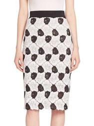 Abs By Allen Schwartz Floral Lace Pencil Skirt Black Ivory