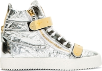 Giuseppe Zanotti Silver Textured Leather Metal Accent High Top Sneakers
