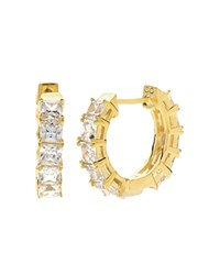 Crislu Baguette Hoop Earrings Gold