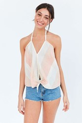 Cooperative Sherbet Tie Front Halter Top Orange