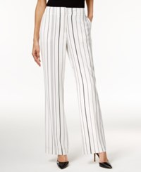Calvin Klein Striped Wide Leg Pants Soft White Black Combo