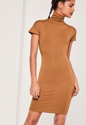 Missguided High Neck Bodycon Dress Brown Brown