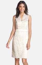 Women's Dessy Collection Lace Overlay Matte Satin Dress Ivory Palomino