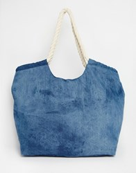 South Beach Beach Bag In Denim With Rope Handle Blue