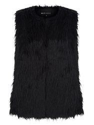 Mela Loves London Faux Fur Sleeveless Gilet Black