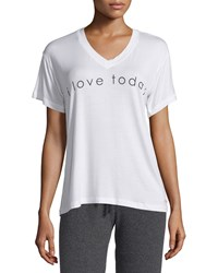 Peace Love World Alina V Neck Graphic Tee White