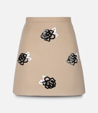 Christopher Kane Mini Skirt With Embroidered Flower Brown