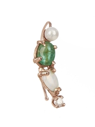 Loren Stewart Diamond Emerald Pearl Opal And Gold Earring