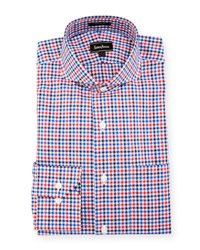 Neiman Marcus Classic Fit Regular Finish Check Print Dress Shirt Red Blue