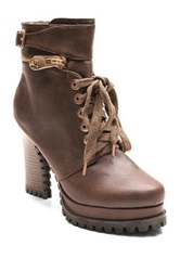Two Lips Too Abduct Combat Bootie Brown