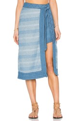 Free People Double The Fun Skirt Blue
