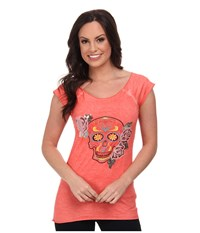 Rock And Roll Cowgirl Capsleeve T Shirt Coral Women's T Shirt