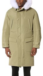 Heich Es Heich Fox Fur Long Parka Khaki