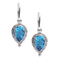 Ewa 9Ct Gold Pear Drop Earrings White Gold Blue Topaz