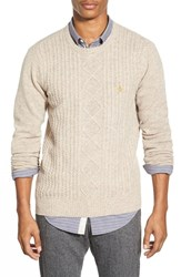 Men's Original Penguin Cable Knit Crewneck Sweater Beige