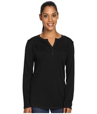 Royal Robbins Go Everywhere Henley Jet Black Women's Long Sleeve Pullover