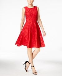 Tommy Hilfiger Clipped Floral Organza Fit And Flare Dress Red