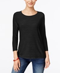 Jm Collection Jacquard Three Quarter Sleeve Top Only At Macy's Deep Black