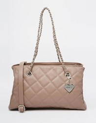 Marc B Quilted Tote Bag In Mushroom With Chain Straps Grey