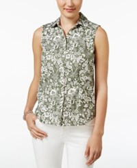 Charter Club Sleeveless Floral Print Shirt Only At Macy's Olive Sprig